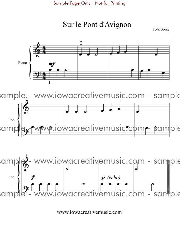 Free Piano Sheet Music - Sur le Pont d'Avignon