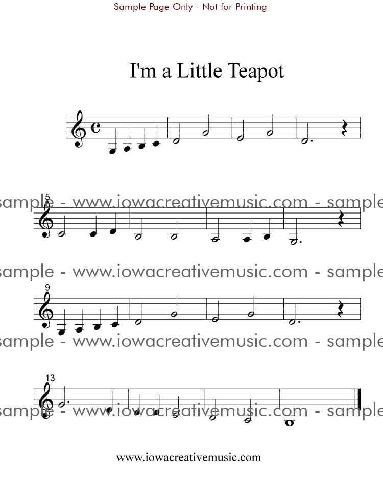 Free Clarinet Sheet Music - I'm a Little Teapot