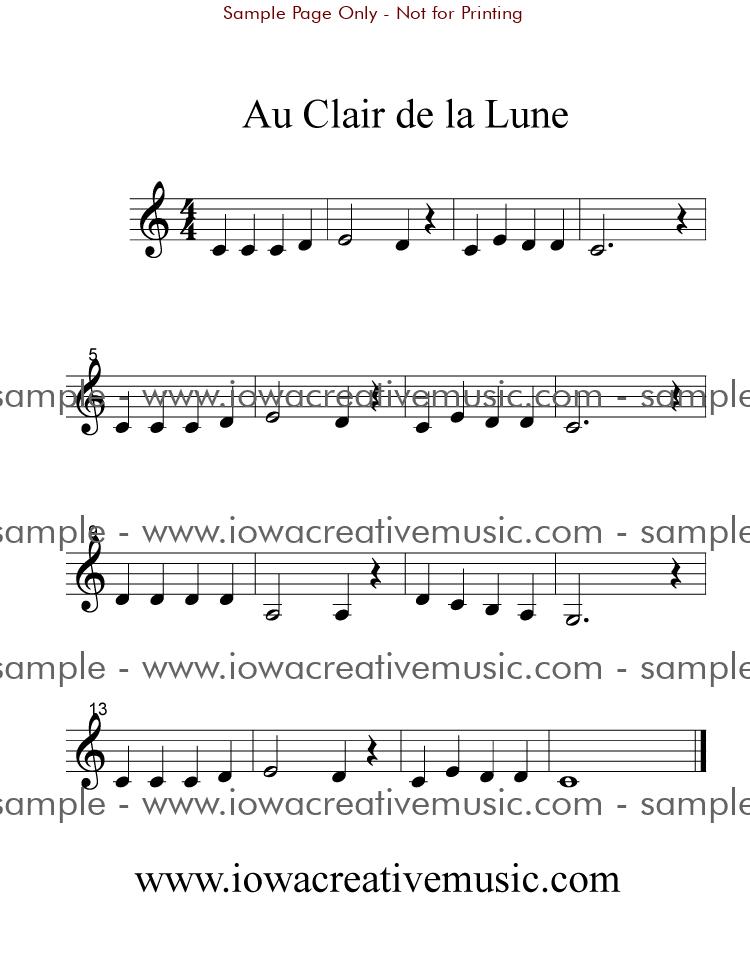 Au clair de la lune free clarinet sheet music