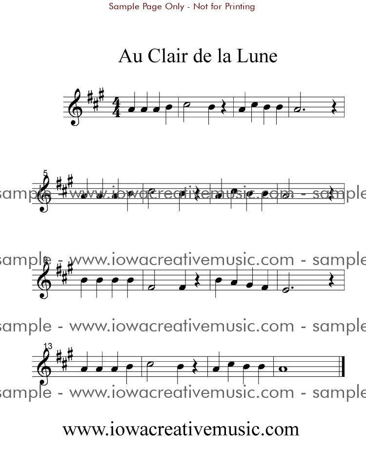 Violin Sheet Music - Au Clair de la Lune; with Piano
